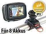 NavGear Powerbank Tasche: Allwetter-Schutztasche & Powerbank für 3,5' Navi & Smartphone (Motorrad Navi Tasche mit Halter)