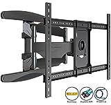 Invision TV Wandhalterung - Ultrastarker Doppelarm - Schwenkbar Neigbar für 94 - 178 cm (37 - 70 Zoll) - Halterung für LED LCD OLED Plasma & Curved Fernseher - VESA 200 x 200 - 400 x 600 inklusive HDMI Kabel & Wasserwaage (HDTV-DXL)