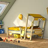 WICKEY Autobett CrAzY Sparky Fun Kinderbett 90x200cm Bagger mit Lattenboden