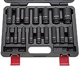 Kraft-Schlagschrauber-Nüsse 1/2' 10-32 mm 16-tlg Steckschlüssel-Satz Schlagnuss