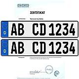 2 x EU KFZ Nummernschilder Autoschilder Kennzeichen ALLE AUTOMARKEN mit individueller Prägung nach Ihren Vorgaben + KFZ Schein Schutzhülle