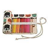 Très Chic Mailanda Stiftrolle 48 Löcher Rollentasche für Buntstift aus Canvas für Reisen / Schule / Büro / Kunst (One Size, Eule 30)