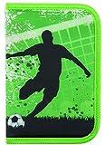 Idena 241123 - Schüleretui Soccer, 50-teilig, grün
