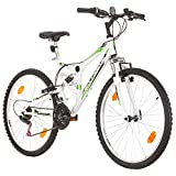 26 Zoll CoollooK EXTREME Fahrrad Fully Full Suspension Mountainbike, MTB, Rahmen 43 cm, 18-GANG, Weiss
