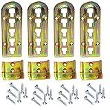4er Set SO-TECH Bettverbinder Bettbeschlag Einhängebeschlag höhenverstellbar für Mittelbalken- und Lattenrostauflage Stahl gelb chromatiert Höhe: 140 mm