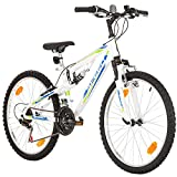 24 Zoll Speed EU-PRODUKT Fully Jugend Fahrrad jungenfahrrad Rad Bike Cycling Damenfahrrad Kinderfahrrad Kinderrad Full Suspension Mädchenfahrrad Mountainbike MTB, Rahmen 31 cm, 18-GANG, Weiss (Weiss)