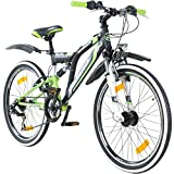 24 Zoll MTB Fully Galano Adrenalin DS Mountainbike STVZO Jugendfahrrad B-WARE, Farbe:schwarz / grün