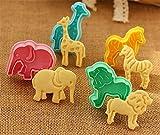 ElecMotive 4 teiliges Tier Cookie Cutters Plätzchenformen Backformen Fondant Keks Ausstechformen Set mit Auswerfer Farbe zufällig gesendet in Geschenkkarton (E)