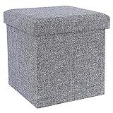 Songmics LSF27H Faltbarer Sitzhocker Belastbar bis 300 kg, Stoff, lichtgrau, 38 x 38 x 38 cm