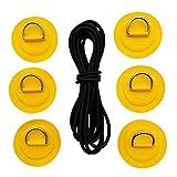 B Baosity 4 teilig Edelstahl D-Ring Pad Set Kleben Augplatte Halterung Befestigung mit Bungee Shock Cord Seil für Schlauchboot Kajak Kanu Paddelboard