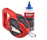 SOLA CLG Schlagschnur Set BLAU I Schlagschnur mit Kreide im praktischen Set |30 Meter Markierschnur für einfaches markieren | blaues Kreidepulver für gute Sichtbarkeit auf hellen Oberflächen