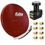 Digital Sat-Anlage Fuba DAA 850 R Satellitenschüssel Rot 85x85cm + PremiumX Quad LNB für 4 Teilnehmer + 8 F-Stecker - Komplett Set HDTV Full HD 4K tauglich + 8X F-Stecker