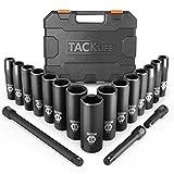 Schlagschrauber Nüsse Set, TACKLIFE 18-teilig Impact Socket Set mit 1/2 Zoll Antrieb, 10-24mm Sechskant Nüsse -Metric, 3, 5, 10-inch Verlängerungsstange HIS1A