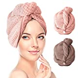 RenFox Turban Haartrockentuch 2 pcs Handtuch Kopftuch Schnelltrocknend saugfähig Haar Trocknendes Tuch für Mädchen Frauen