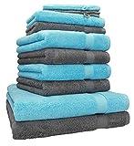 Betz 10-TLG. Handtuch-Set Premium 100% Baumwolle 2 Duschtücher 4 Handtücher 2 Gästetücher 2 Waschhandschuhe Farbe Türkis & Anthrazit Grau