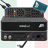 TiVuSat Karte HD aktiviert + DIGIQuest Q10 DVB-S2 Full HD Sat Receiver HEVC Main 10 Set-Top Box, zertifizierter TiVuSat Receiver mit Karte, Mediaplayer, USB PVR, 150Mbit WiFi, EasyMouse HDMI