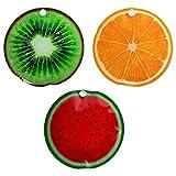 3er Set Kühlakku Kühlpad Kühlkissen Icepack ca. 16cm mit Früchtemotiv Melone Kiwi Orange Kühlakkus - Kühlelemente für Kühltasche oder Kühlbox - Kühlpack - Flaschenkühler
