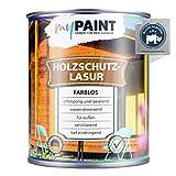 myPAINT® Holzschutzlasur (2,5L, farblos) seidenglänzende Holzlasur Außen- Holz Grundierung - Holz Lasur - Holzlasur Aussen - Made in Germany