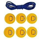 B Baosity 6er Pack Edelstahl D-Ring mit Anti-Rutsch Pads Patches mit Elastische Schnur Stretch Faden für PVC aufblasbar Boot Kajak SUP Paddel - Gelb