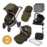 Ickle Bubba Stomp V4 iSize SPECIAL EDITION Baby Reisesystem - Packet inkl. Rück- und Vorwärts gerichteter Kinderwagen, Autositz, ISOFIX Basis, Babytragetasche, Fußsack und Regenschutz - Wald Bronze
